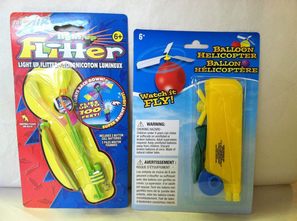 New Novelty Balloon Flying Helicopter/Sling Shot Helicopter Lights Up 2pc Combo