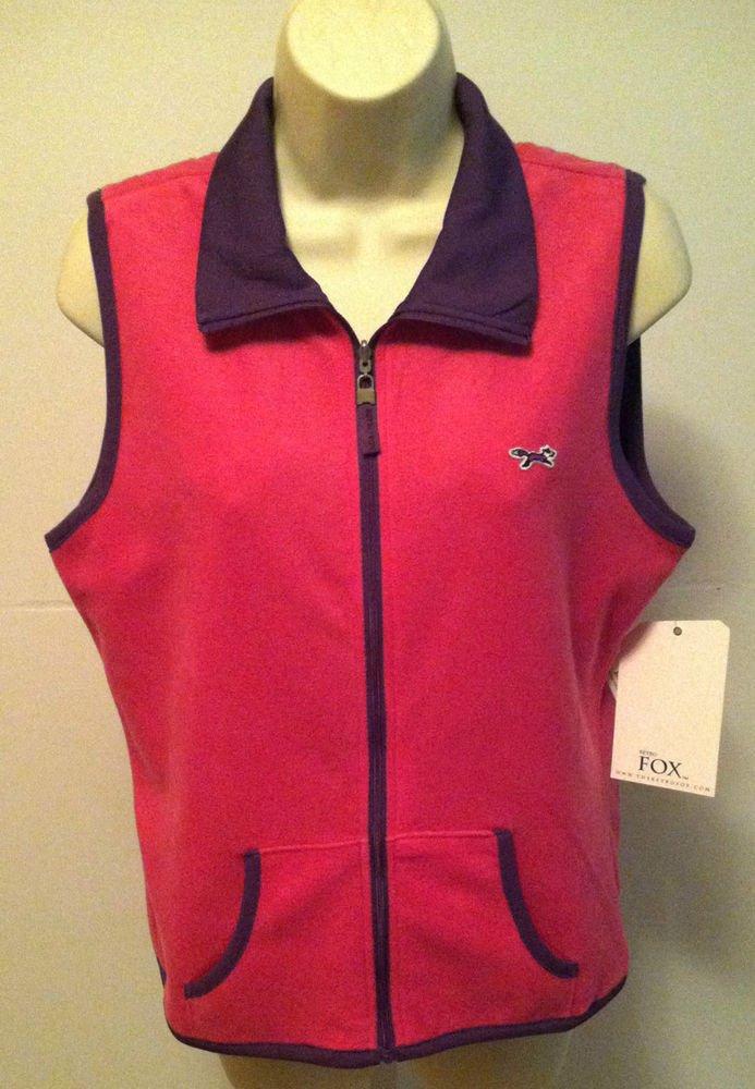 Retro FOX Pink Polar Fleece & Purple Satin Reversible Vest Juniors Size XL BNWT