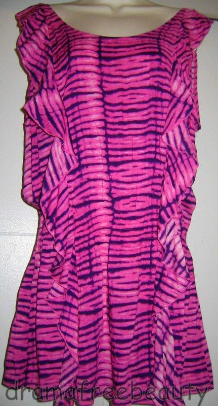 Victoria Secret Ruffled Pink/Purple TIE-DYE Sexy Swim Cover-Up Tunic Dress Sze M