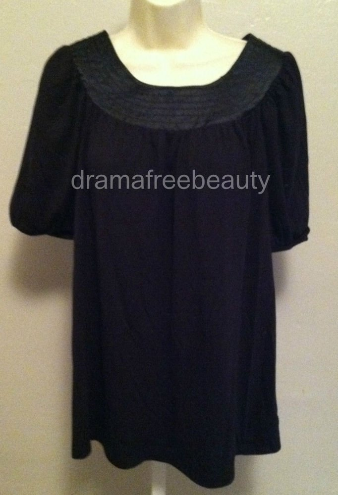 LIZ LANGE Maternity Top/Blouse Black Womens size Large Elastic Band Sleeves