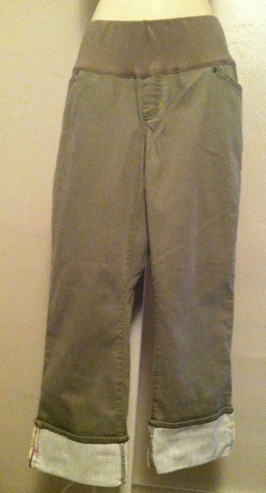 GAP Maternity Demi-panel Stretch Cropped Pants/Jeans Capri Light Green Size 10 R