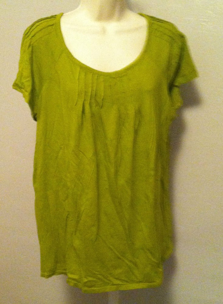 LIZ LANGE Maternity Womens Size Large Top Blouse Shirt Light Olive Green