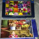 2 Puzzlebug 500 Pieces *WONDERS OF NATURE & MARKET FLOWERS* Puzzle Lot Sealed BN