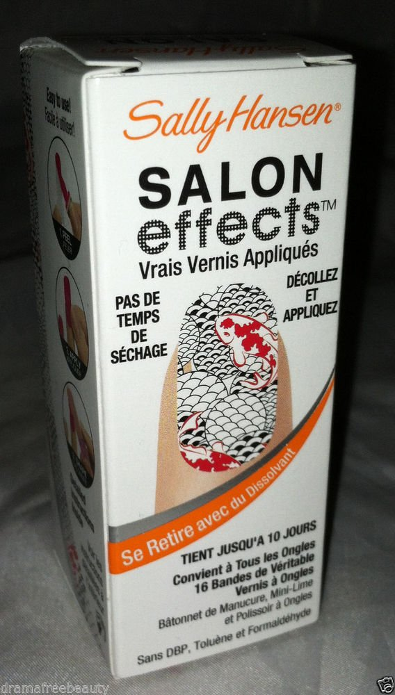 Sally Hansen Salon Effects Nail Polish Strips *DON'T BE KOI* Fish Red/Black BNIB
