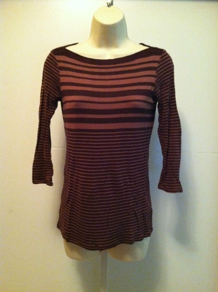 GAP Womens XS  2pc Lot Knit Striped 3/4 Sleeve Top / Blouse  Dark / Light Brown