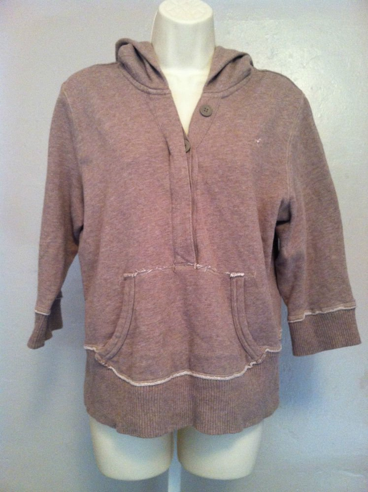 OLD NAVY Juniors X-Large(XL) 3/4 Sleeve Hoodie Button Up V-Neck Design Brown