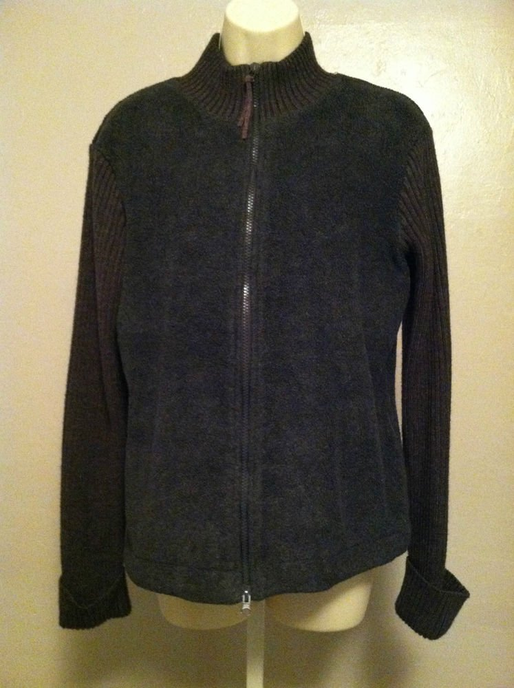 Express Jeans Womens Large Charcoal Gray Full Zip Fleece Sweater Ribbed Sleeves