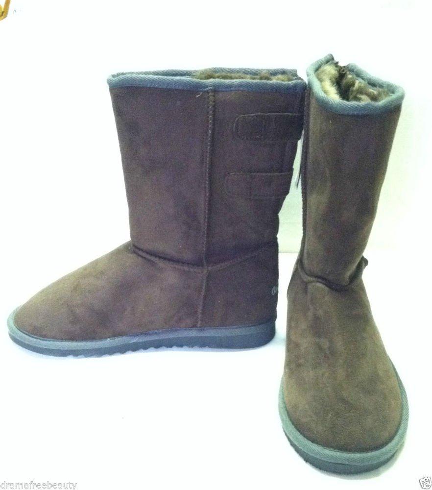 Aeropostale Womens Espresso Brown Boots Size 10 Faux Fur Inside Lining BNWT