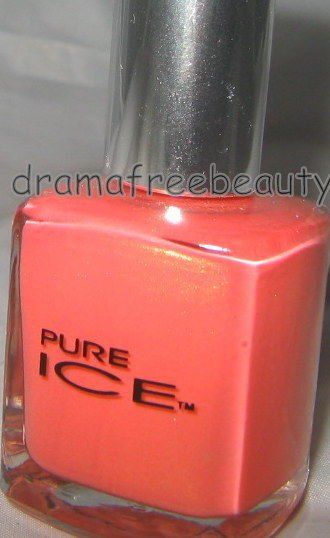 Pure Ice Nail Lacquer Polish *TWINKLE* Warm Coral Creme w/Gold Shimmer Brand New