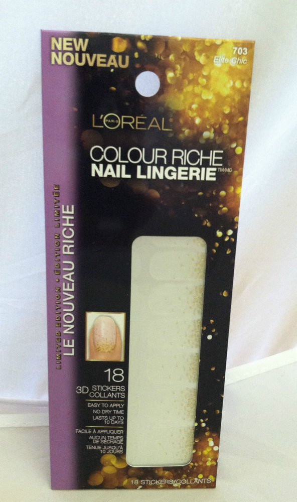 L'oreal Colour Riche Lmt Ed Nail Lingerie 703 *ELITE CHIC* 18 3D Stickers No Dry