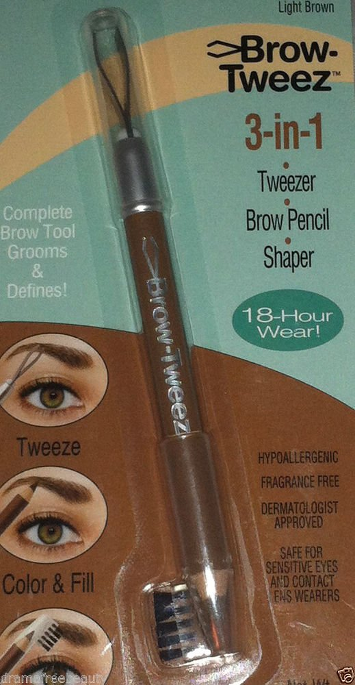 Physicians Formula Brow-Tweez 3-in-1 Tweezer/Brow Pencil/Shaper *LIGHT BROWN*