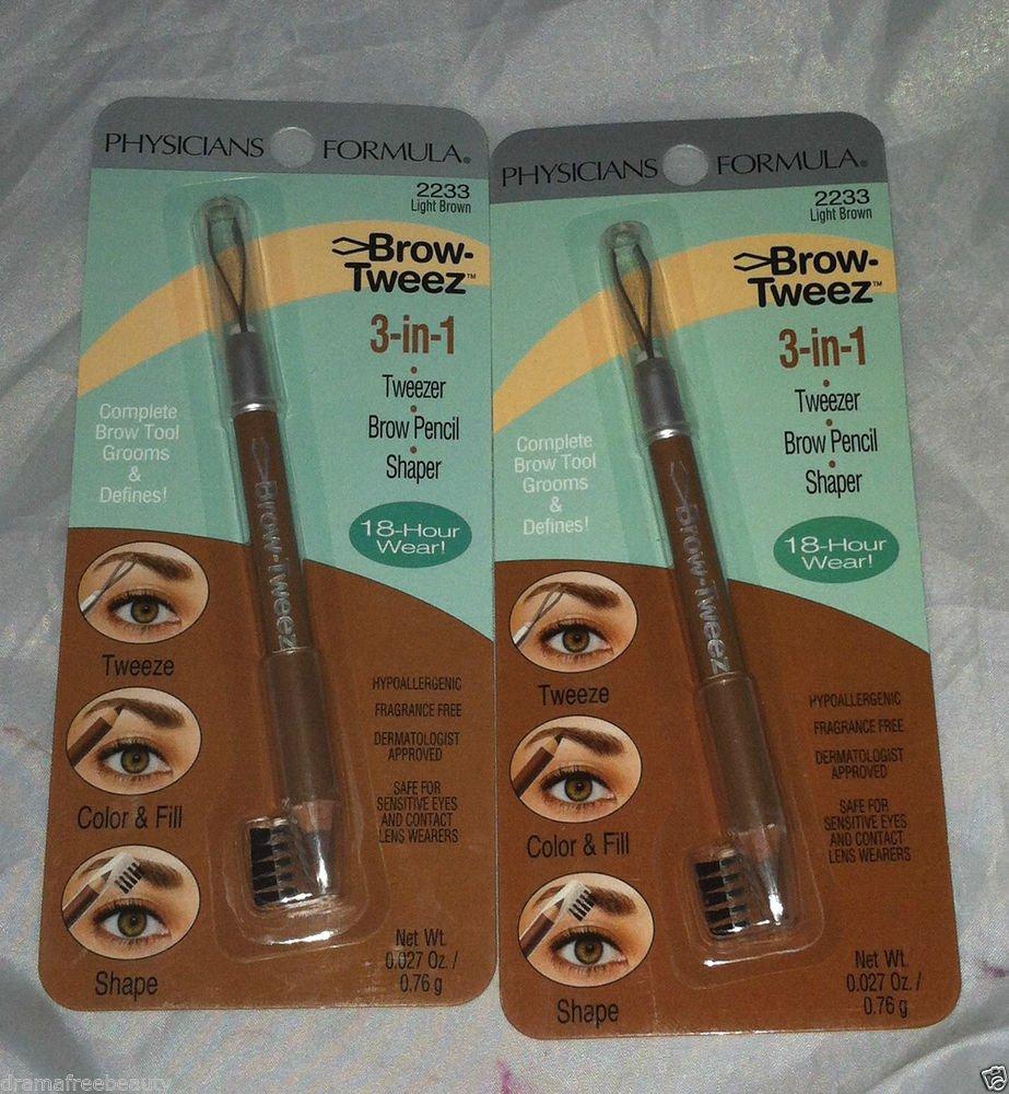 2 Physicians Formula Brow-Tweez 3-in-1 Tweezer/Brow Pencil/Shaper *LIGHT BROWN*