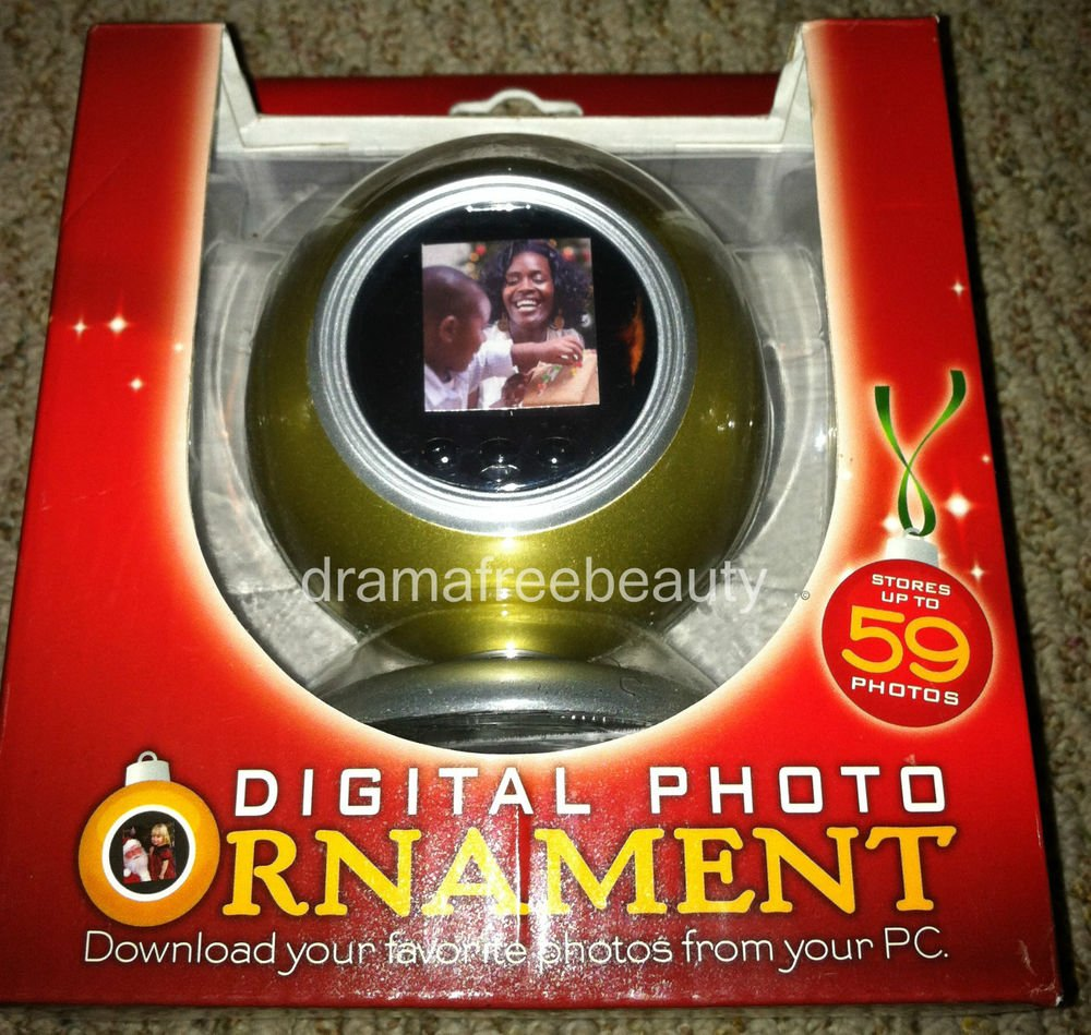 Digital Photo Ornament Gold Holds 59 Photos Slide Show or Single Pic display NIB
