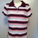 Hollister Striped Polo Shirt Juniors Size Large Pink Blue Brown Burgundy Worn 1