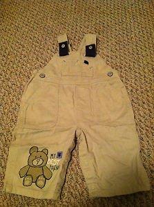 Carter's Boys/Toddlers/Infants 6 months Khaki Overalls Teddy Bear Design
