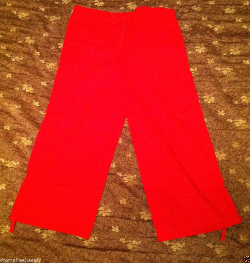 No Boundaries Juniors Size 9 Stretch Red Cropped/Capri Pants Shorts wPullstrings