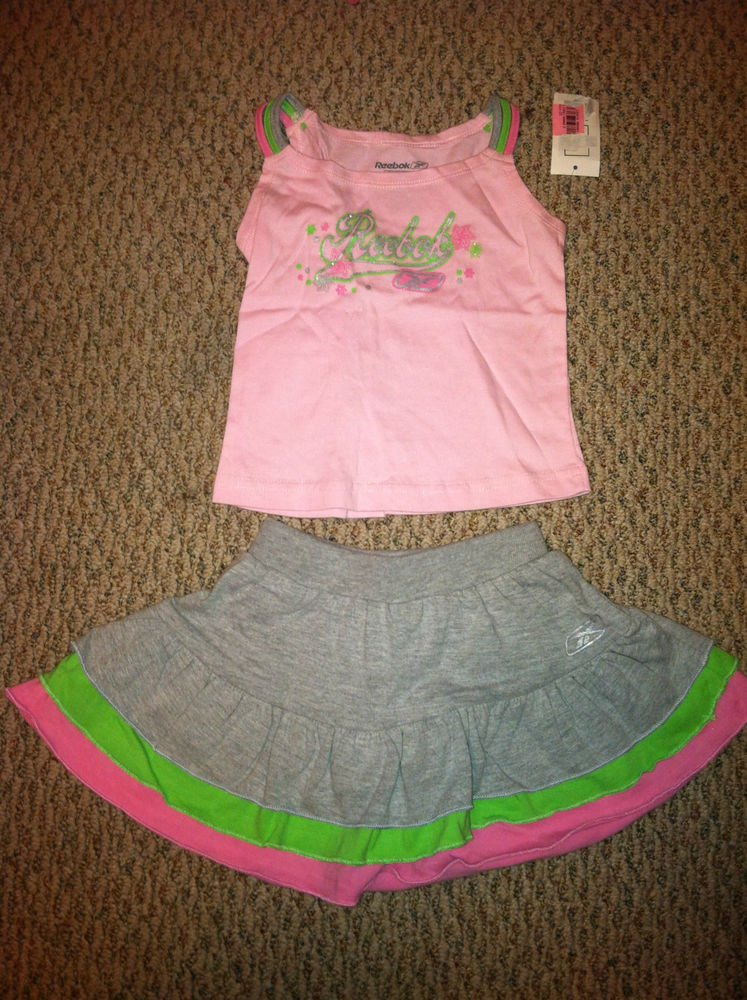 Reebok 2T girls Tank Top/Skirt Set BNWT Gray/Pink/Green Sparkle Logo on Front