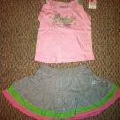 Reebok 2T girls Tank Top/Skirt Set BNWT Gray/Pink/Green Sparkle Logo on Front