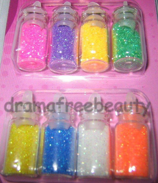 Donna Michelle NAIL ART *8 Mini Bottles Fine GLITTER* Pink, Purple, Green, Blue+