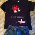 Janie and Jack 4th of July Outfit Set 18 months hat jean-shorts t-shirt matching