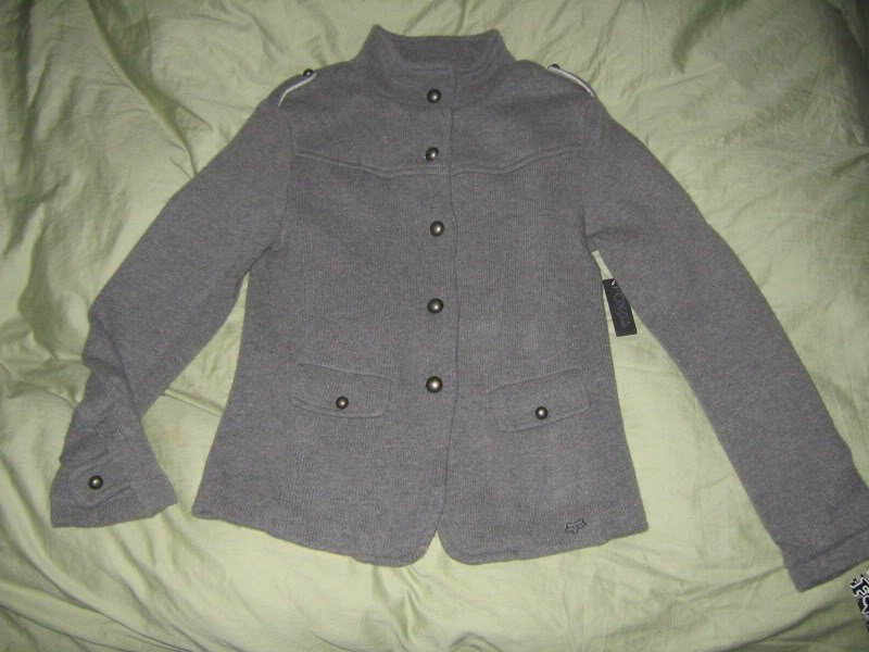 Fox Racing CARNABY Gray *Houndstooth Sweater Jacket* Pocket Buttons XL $88 NWT