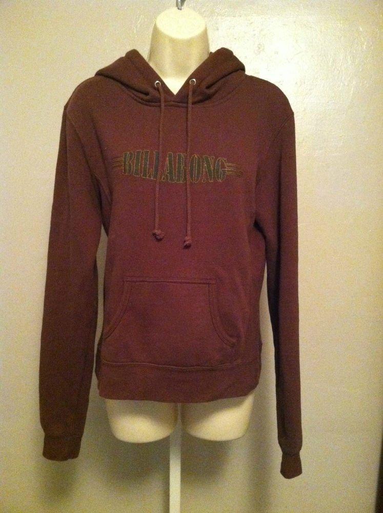 BILLABONG Juniors Large Brown Hoodie/Pullover Billabong Logo Long Sleeve