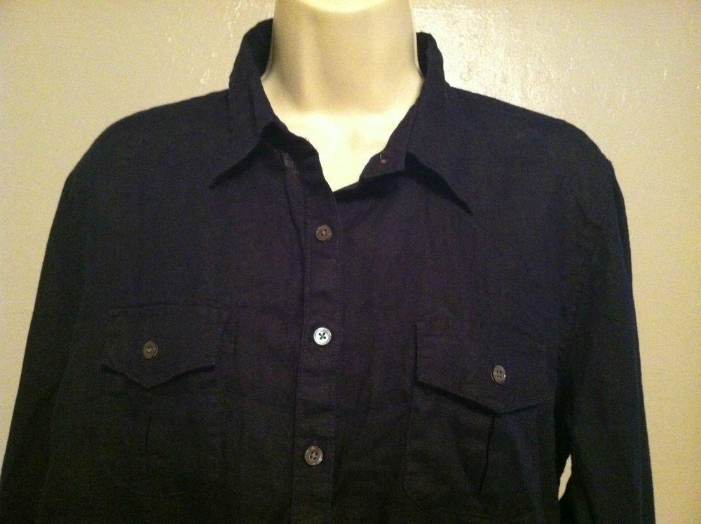 LANDS END Womens Medium Black Sheer Leinen Top/Blouse Button Down Shirt