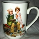 Authentic Norman Rockwell Museum Vintage Coffee Cup/Mug *THE COBBLER* Gold