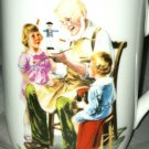 Authentic Norman Rockwell Museum Vintage Coffee Cup/Mug *THE TOYMAKER* Gold