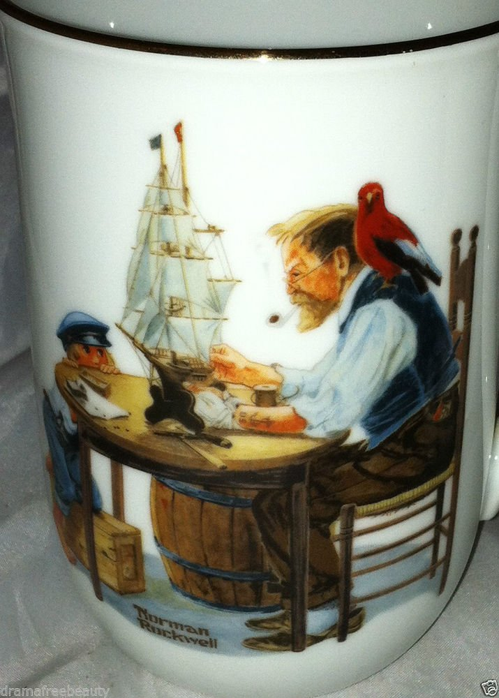 Authentic Norman Rockwell Museum Vintage Coffee Cup/Mug *FOR A GOOD BOY* Gold