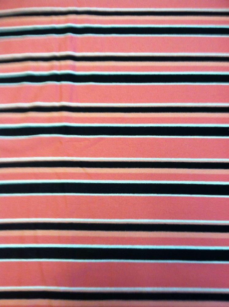 "Pink/Salmon/White/Black Stripe Pattern Sewing Fabric Stretch Cotton 2 yrd X 60"""