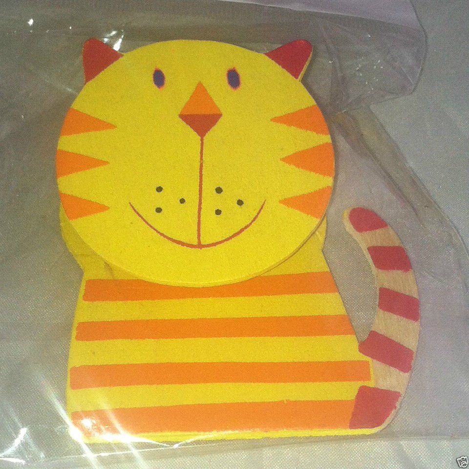 Wooden Fridge Yellow Cat Clip Magnet Yellow Orange Red Sealed New