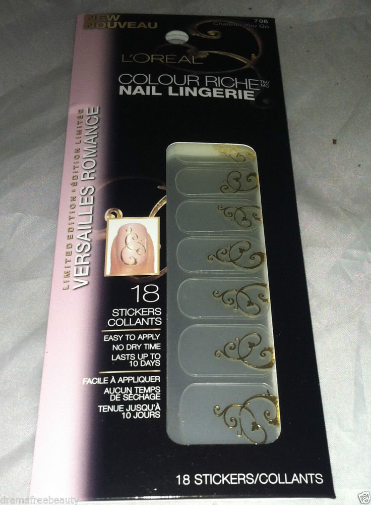 L'Oreal Colour Riche Nail Lingerie *706 CHATEAU YOU GO* Gold Script Swirl Accent