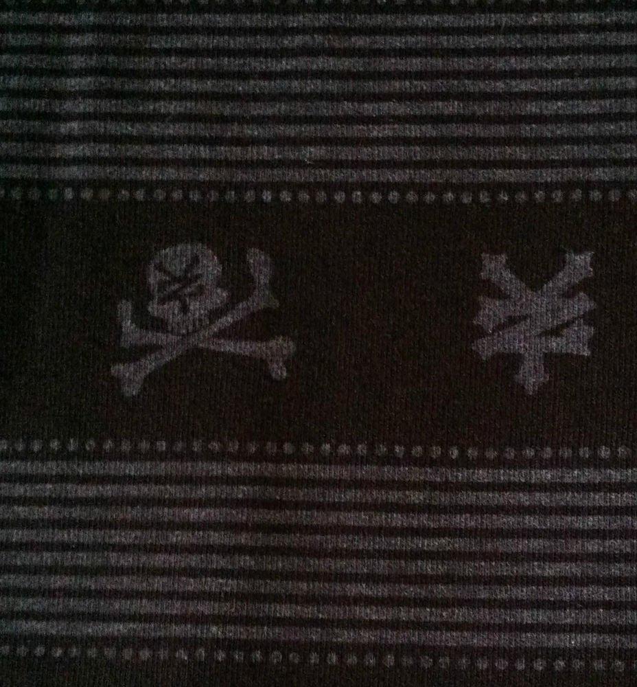 Black/Gray Stripes Asian Skulls Cross Bones Stretch Knit Cotton Sewing Farbric