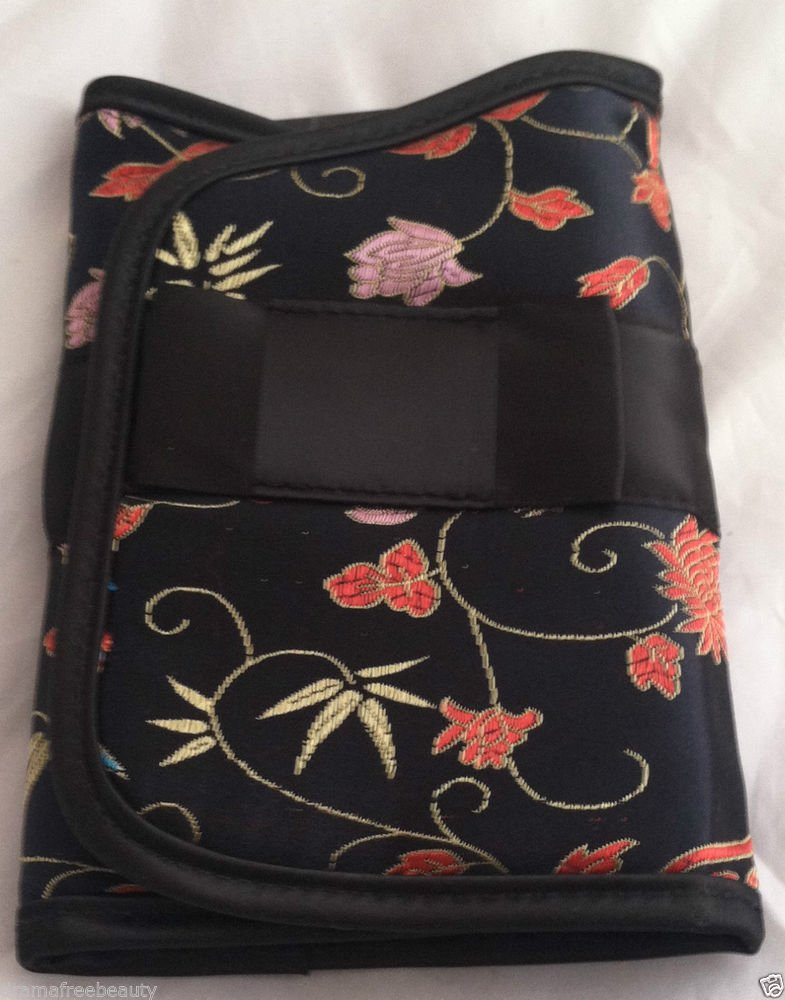 Japonesque Kimono Brush Bag Magnetic Closure Silken Bag Black Floral Pattern BN