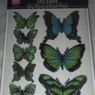 Green Blue Butterfly Stickers Autocollantes Hand Made 3-D Wings Look Real BN