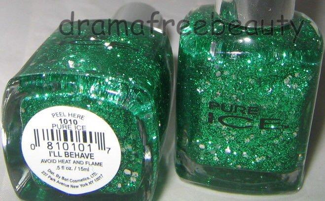 Pure Ice Nail Polish 1010 *I'LL BEHAVE* Green Glitters w/Silver Hex Glitter BNew
