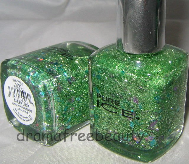 Pure Ice Nail Polish *SHEER LUCK* Green Glitters & Holo Teal/Silver Diamonds BN