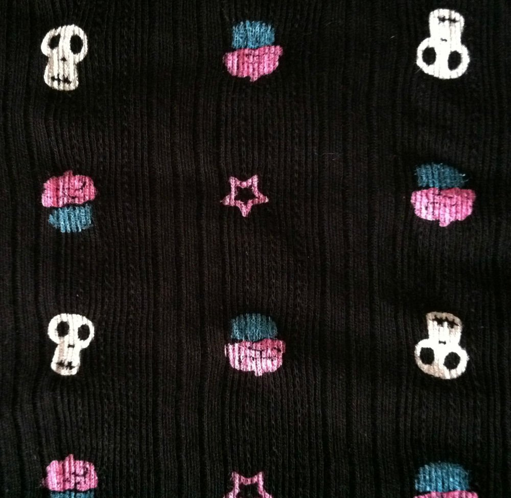 """Skulls and Cupcakes Sewing Fabric Black Knit lightweight Stretch Cotton 64 X 57"""""""