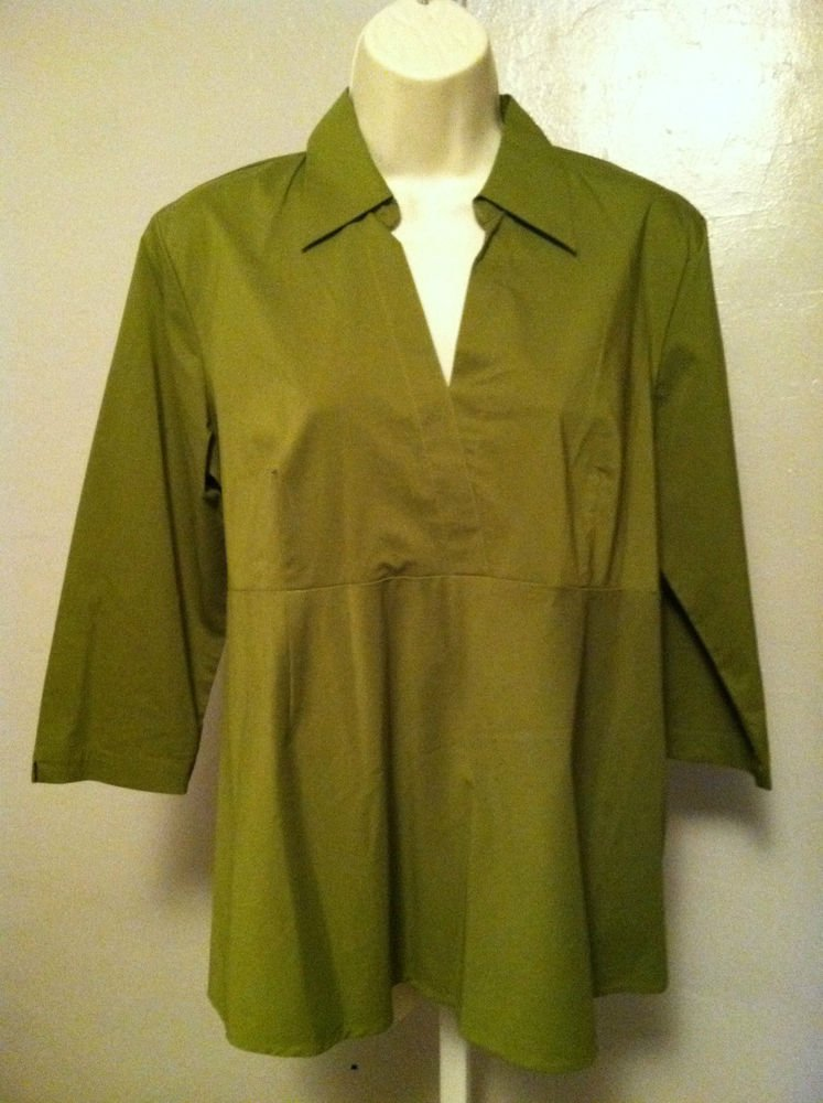 Womans DUO MATERNITY Stretch 3/4 Sleeve Olive Green Top/Blouse Size Medium BNWT