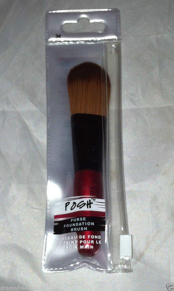 Posh Purse Foundation Face Brush Metallic Red w/ Black Trim Brand New
