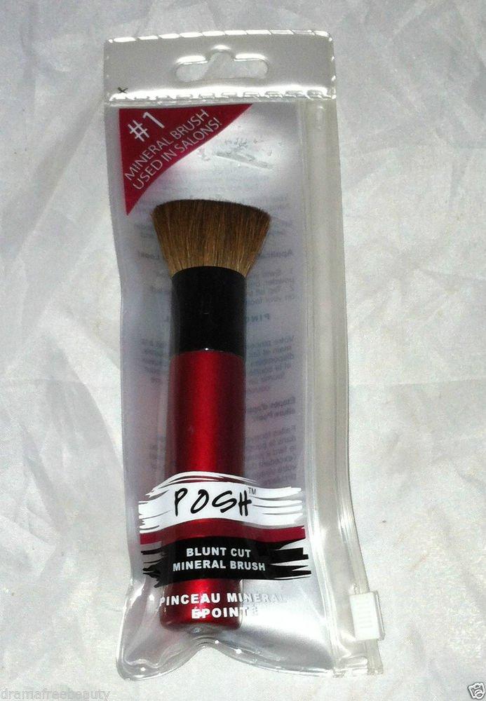 Posh Blunt Cut Mineral Brush Metallic Red w/ Black Trim Brand New