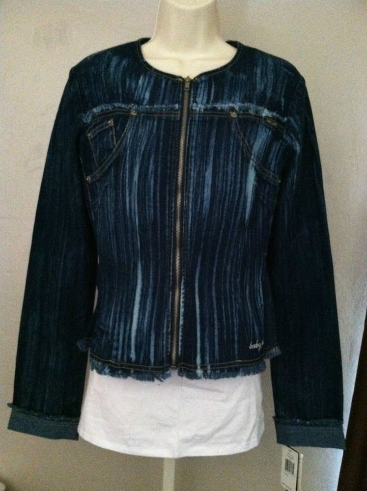 Baby Phat Juniors Jean Jacket New With Tags Size Large MSRP $110 Stretch Blue