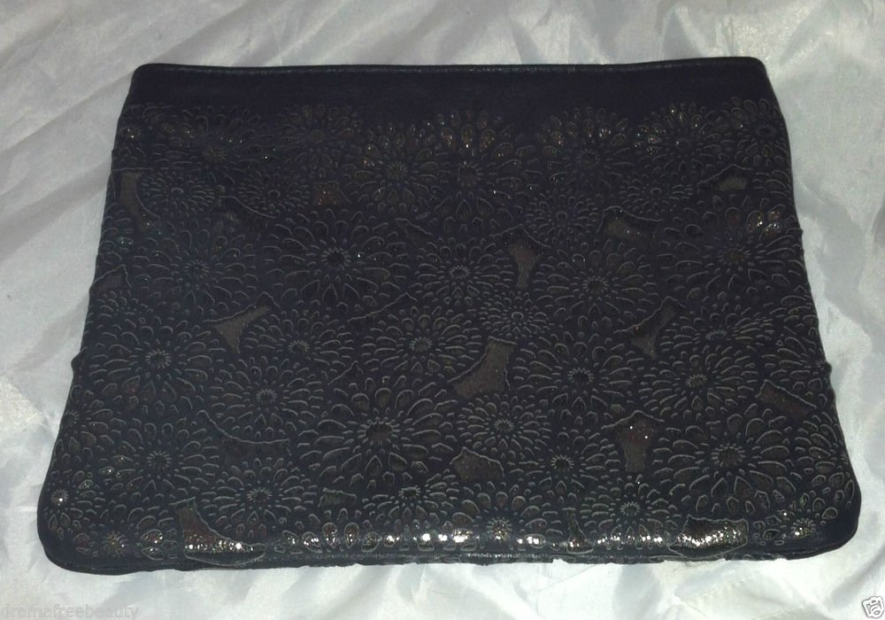 New! SEPHORA Cosmetic/Makeup Bag Clutch  Large Metallic Black Brand New