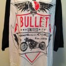 XG Premium Quality Mens White/Black Bullet Motorcycle 3/4 Sleeve Shirt BNWT