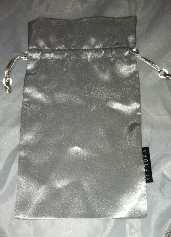 SEPHORA Silver Cosmetic / Makeup Carrying /Bag /Pouch Silky Feel   5X9