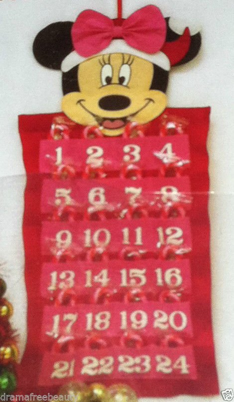 "Minnie Mouse Christmas Advent 24 Day Calendar 19"" Long Filled w/Mini Candy Canes"