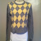American Eagle Juniors Lambswool Sweater Size X-Large Gray with yellow checker