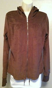 Express Brown Terry Cloth Womens Full Zip Hoodie Long Sleeve BNWT Size Large