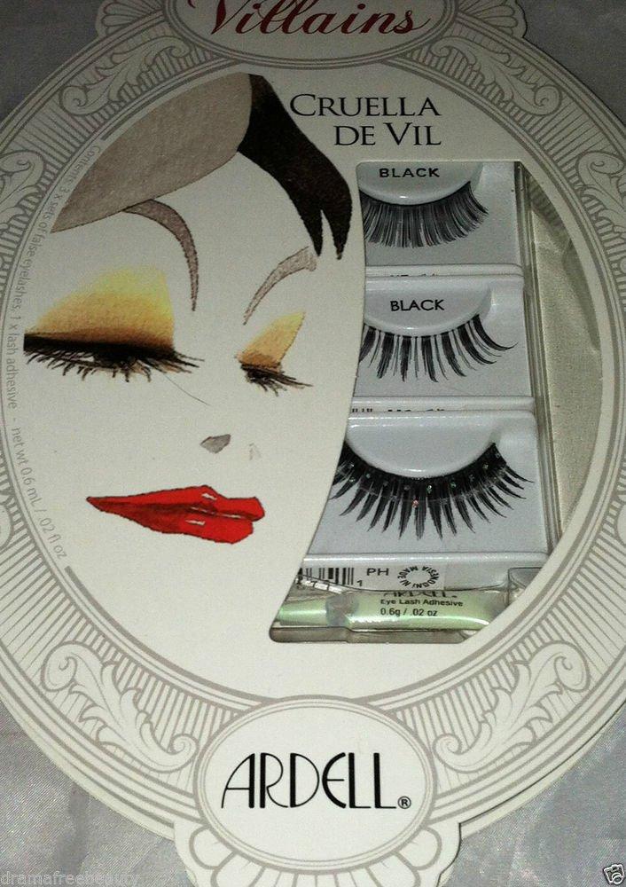 Disney Villains * CRUELLA DE VIL * Black Eye Lash Set 3 Designs w/Adhesive BNIB